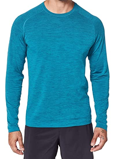 179325a98 Lululemon Mens Metal Vent Tech Long Sleeve Shirt (Poseidon Amalfi Blue