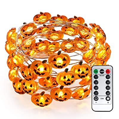 Brizled Pumpkin Halloween String Lights, 40 LED 13.12ft 8 Modes Battery Powered Fairy Lights with Remote & Timer, Flexible Copper Wire Jack-O-Lantern Lights for Halloween Party Decorations, Warm White : Garden & Outdoor