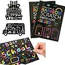 "Humars Scratch Art Activity Books for Kids! 20 BIG 10"" x 7.25"" Sheet Rainbow Scratch Paper Set with Stylus Scratchers & Stencils - DIY Painting Doodle Book Set Makes Art Fun!"