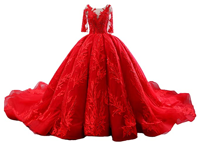 Miao Duo Princess Cathedral Train Ball Gown Red Wedding