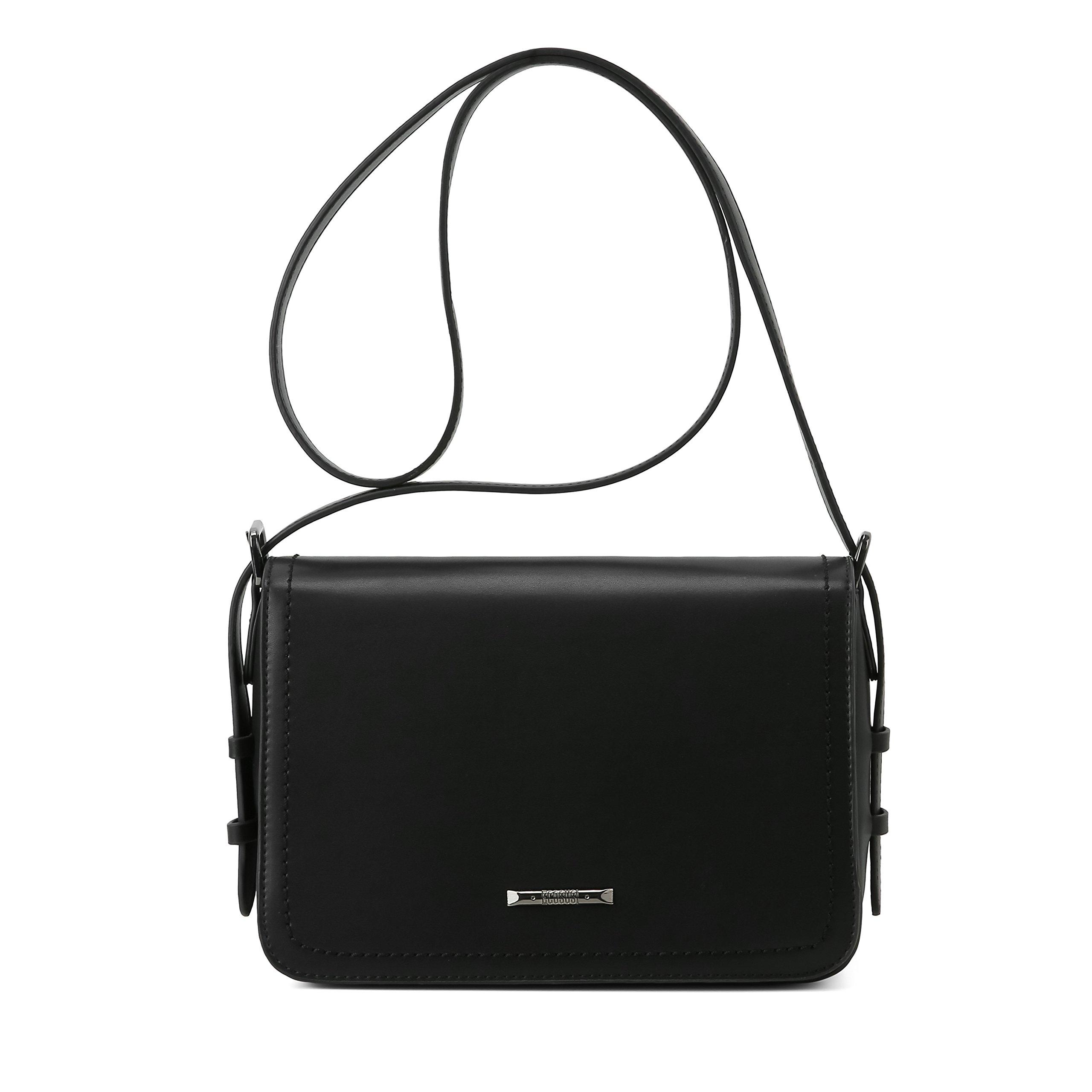 ECOSUSI Women's Crossbody Shoulder Bags Fashion FlapoverPurse with Adjustable Shoulder Strap, Black
