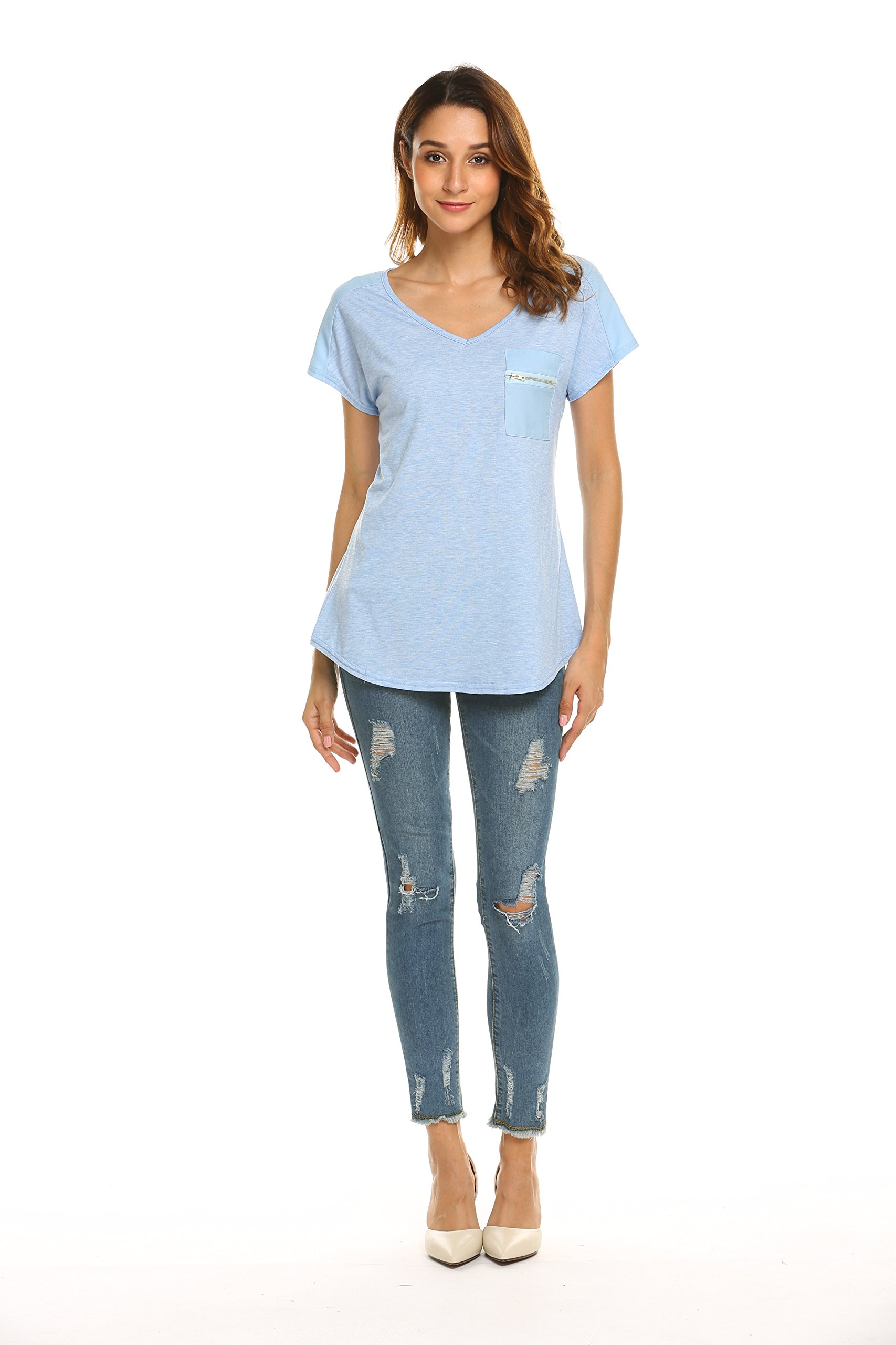 OURS Women's Casual Fashion Simple Comfy Knit Business Work T Shirt(Blue, S) by OURS (Image #5)