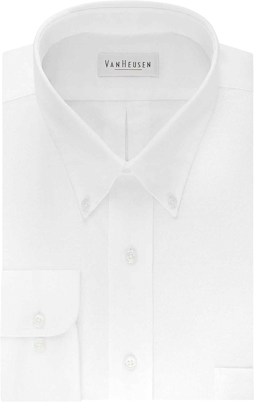 $114 VAN HEUSEN 17.5 32//33 Men REGULAR-FIT WHITE LONG-SLEEVE BUTTON DRESS SHIRT