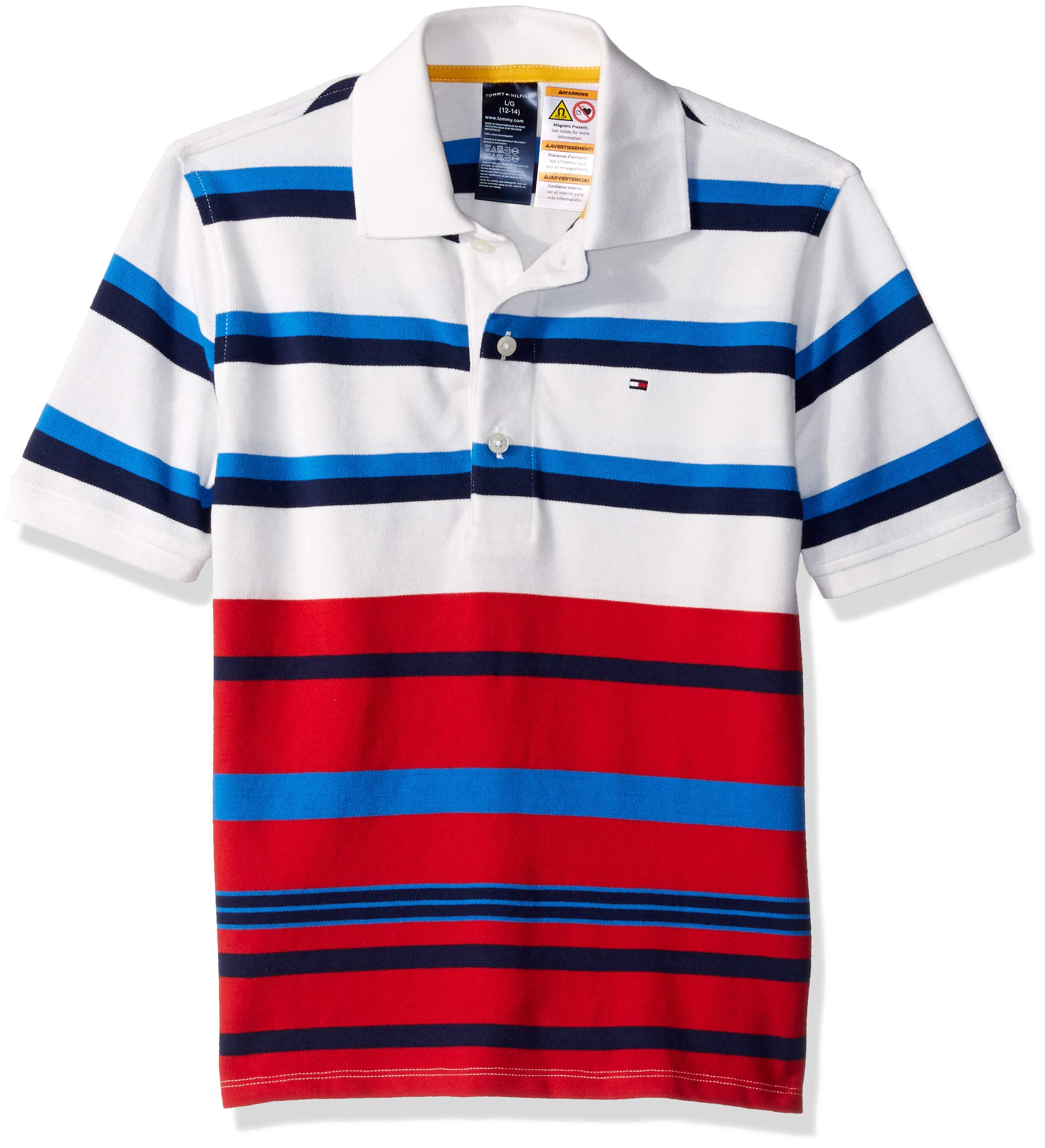 Tommy Hilfiger Boys' Adaptive Polo Shirt with Magnetic Buttons, snow white Medium