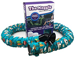 NOGGLE - Extend Hot and Cold Air from Your Dash AC Vent to Kids in The Back Seat - Summer and Winter Vehicle Baby Traveling System to Keep Children Comfortable in The Car - 8ft, Happy Camper
