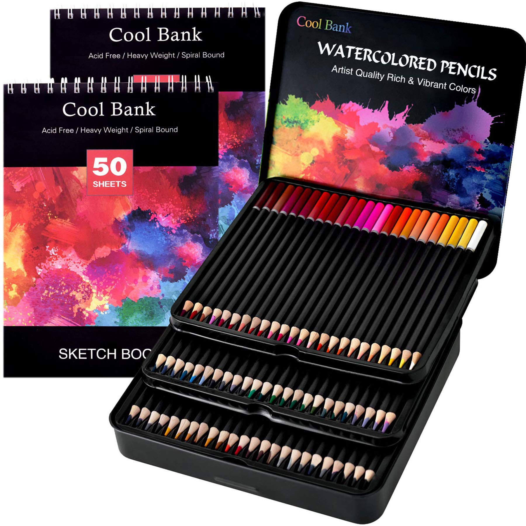 72 Watercolor Pencils Set with 2 x 50 Page Drawing Pad for Kids, Adults and Professionals, Premium Artist Lead with Vibrant Colors, Ideal for Coloring, Blending and Layering, Watercolor Techniques by COOL BANK