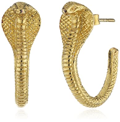 e4cc6ca34 Zoe and Morgan Cobra 22ct Gold Plated Sterling Silver Hoop Earrings:  Amazon.co.uk: Jewellery
