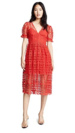 296f47862f8 Amazon.com  Self Portrait Women s Red Lace Midi Dress  Clothing