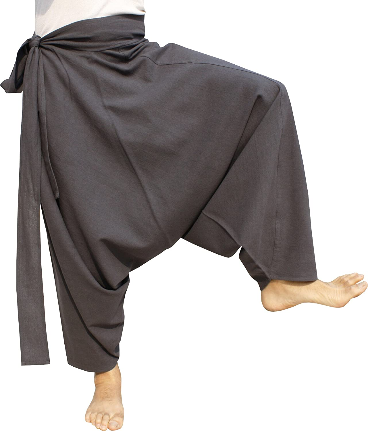 RaanPahMuang Warm Thick Muang Cotton Side Tie Aladdin Baggy Mao Pants