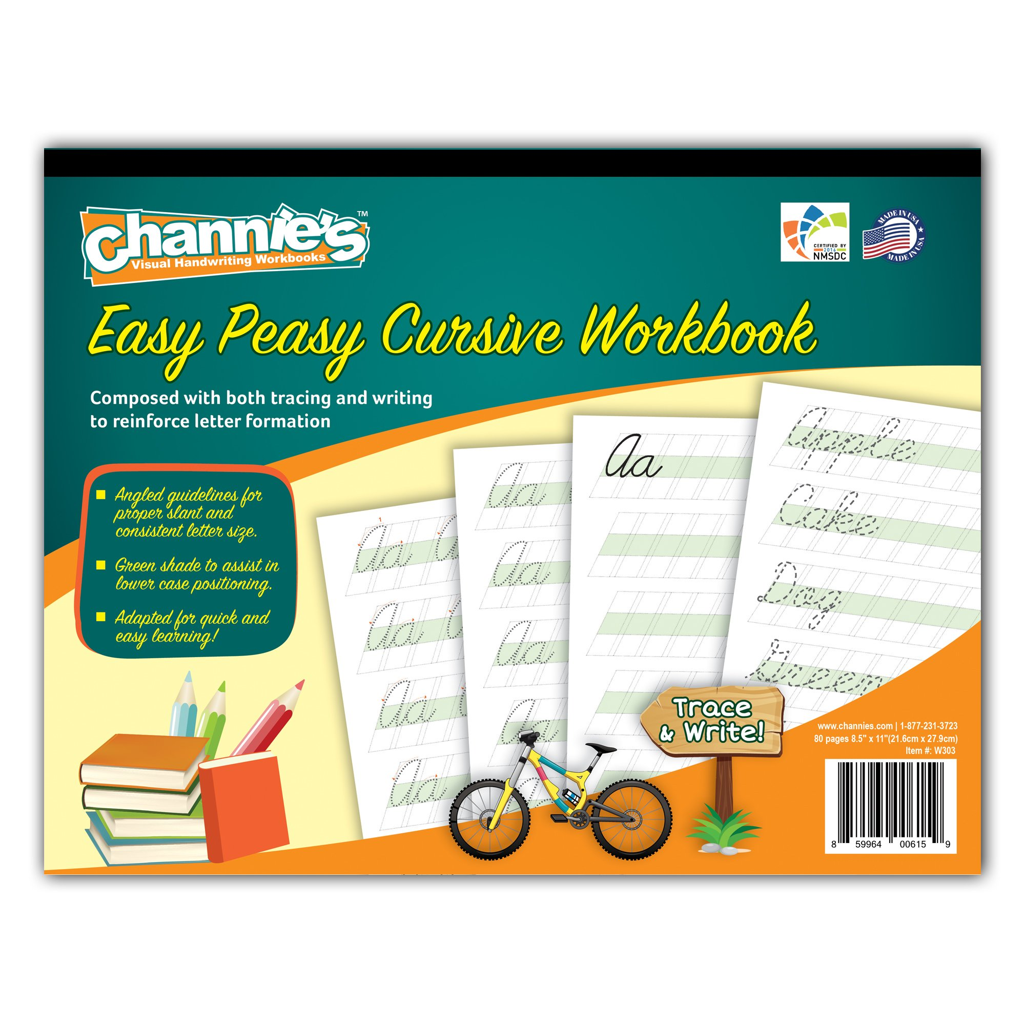 "Channie's Easy Peasy Cursive Tracing & Writing Practice Workbook, 80 Pages Front & Back, 40 Sheets, Grades 1st – 3rd, Size 8.5"" x 11"""