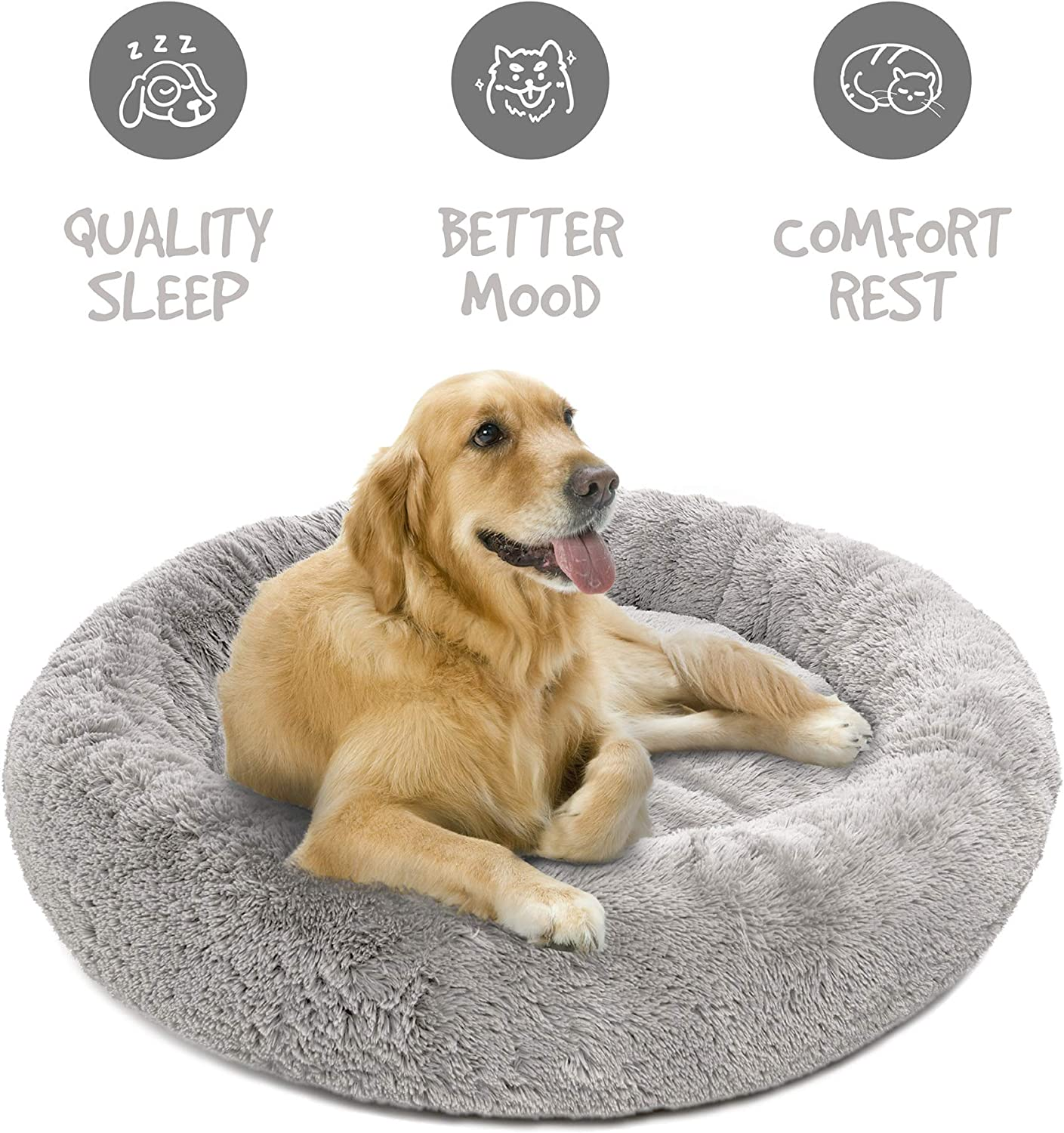 Friends Forever Donut Cat Bed Faux Fur Dog Beds for Medium Small Dogs Self Warming Indoor Round Pillow Cuddler Pink /& Tan /& Grey /& Ivory