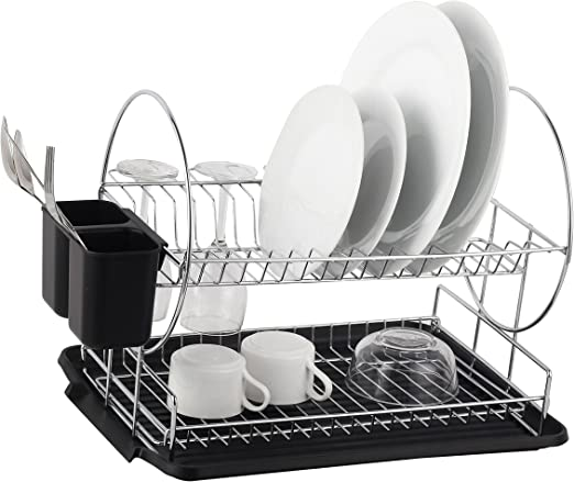Amazon Com Deluxe Chrome Plated Steel 2 Tier Dish Rack With