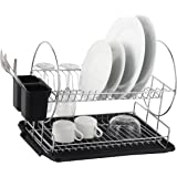Deluxe Chrome-plated Steel 2-Tier Dish Rack with Drainboard / Cutlery Cup (BlackII)
