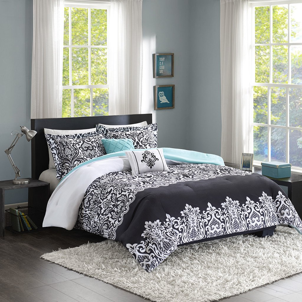 Black White Aqua Teal Girls Full/Queen Reversible Damask Comforter