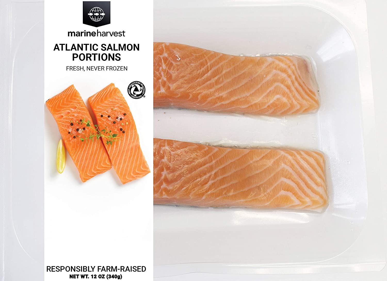 Marine Harvest Fresh Atlantic Salmon, Skin-On, Responsibly Farm-Raised, 12 oz
