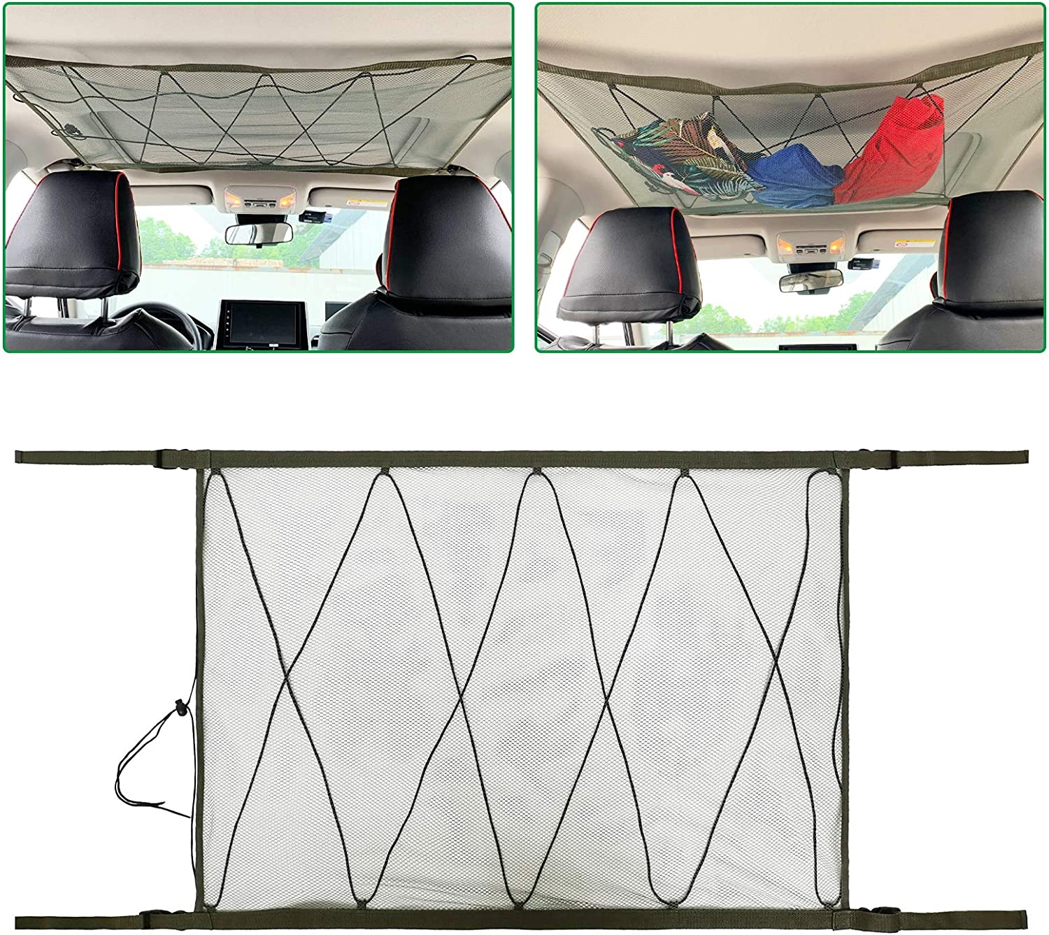 Ceiling Cargo Net Pocket Storage Bag Car Roof Long Trip Tent Putting Quilt Childrens Toy Towel Sundries Van SUV Car Interior Accessories