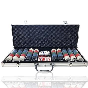 Juego de Chips de Poker, Resistente, 0.41 oz, Juego de fichas de póquer con Funda de Aluminio para Blackjack Gambling,Poker de Casino 500 Fichas