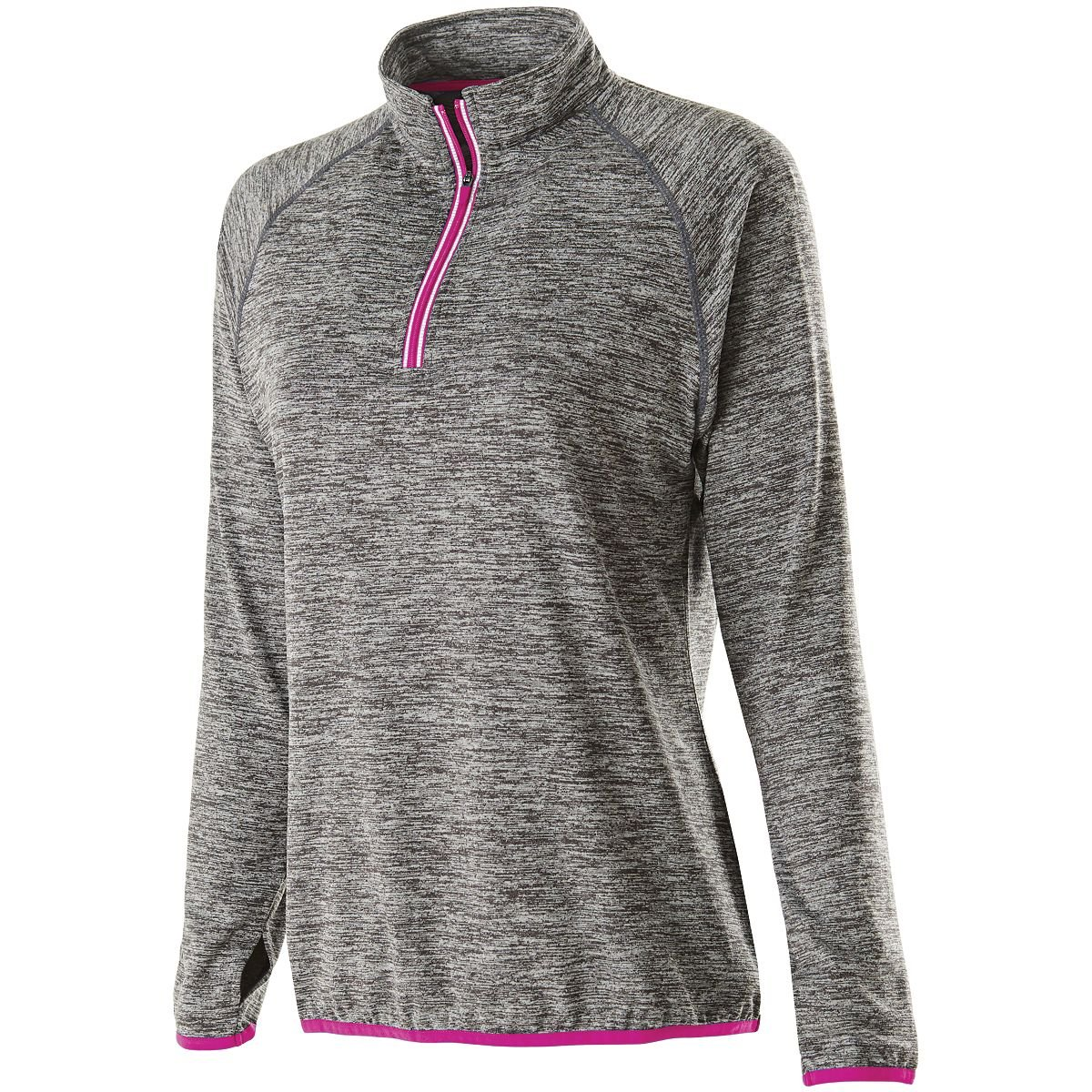Holloway Women's Force Training Top Pullover, Carbon Heather/Power Pink, Small by Holloway