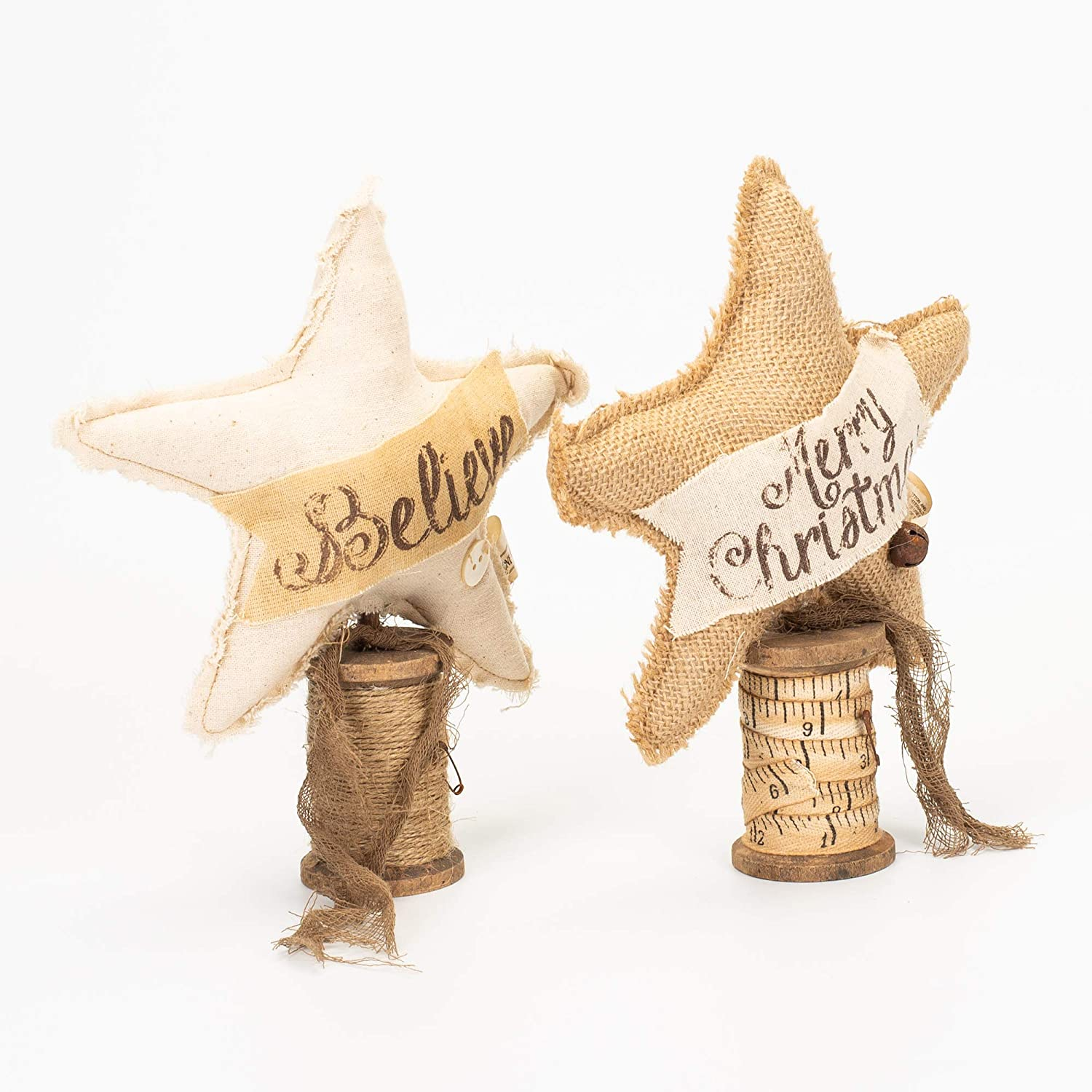 Honey In Me Set of 2 Primitive Country Small Vintage Believe /& Merry Christmas Star on Spool Base Honey and Me