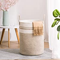 YOUDENOVA Woven Rope Laundry Hamper with Handles, Tall Laundry Basket for Blanket Storage, Heavy Duty Clothes Hamper for…