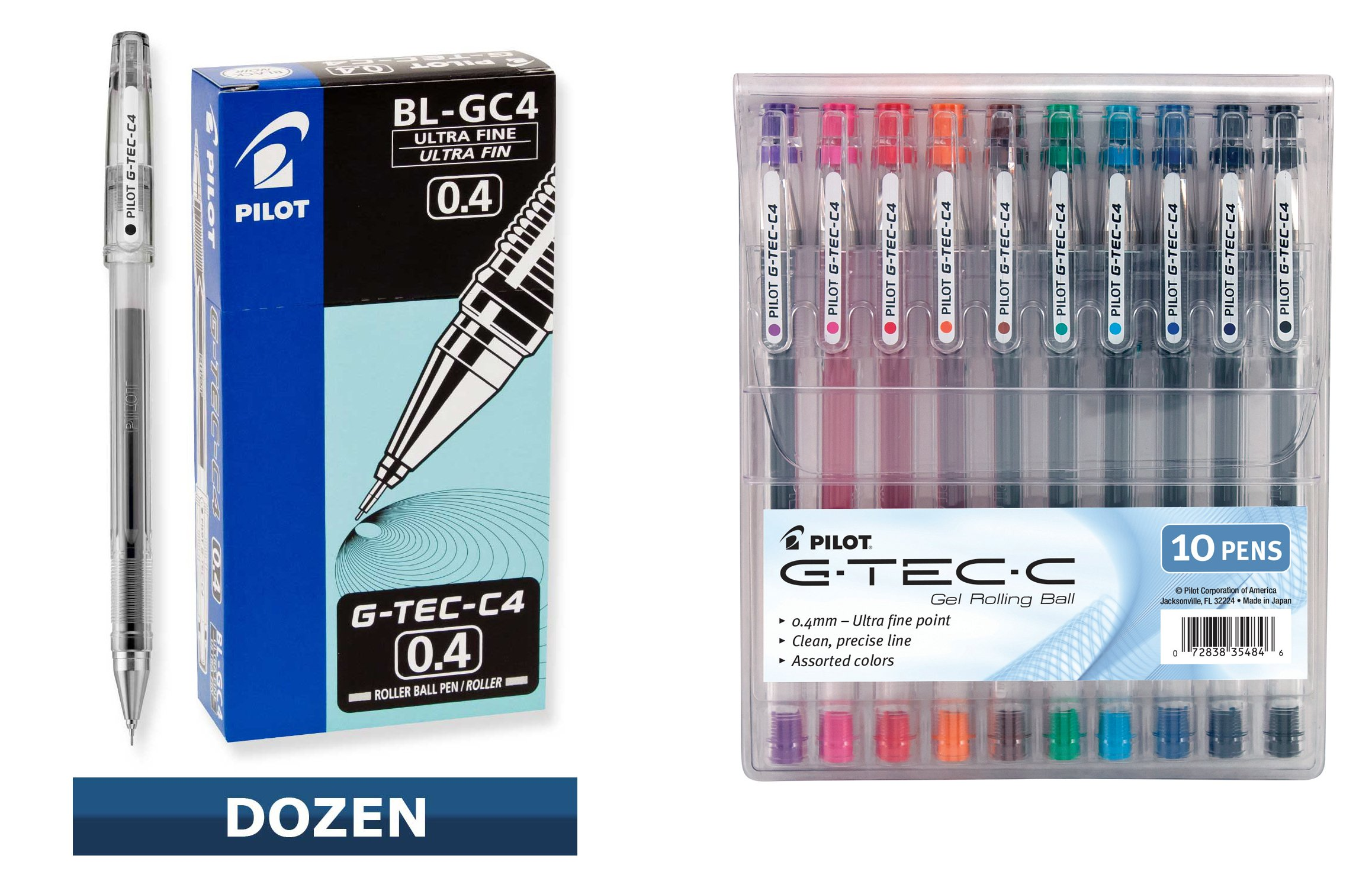 Pilot G-Tec-C Ultra Fine 0.4mm Rollerball Pens Bundle, 1 Dozen Black + 10 Assorted Colors by Pilot (Image #1)