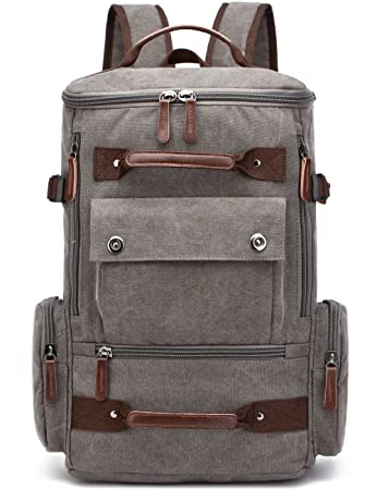 06db45719 Amazon.com: Canvas Backpack, Aidonger Vintage Canvas School Backpack Hiking  Travel Rucksack Fits 15'' Laptop (Gray): Aidonger Direct