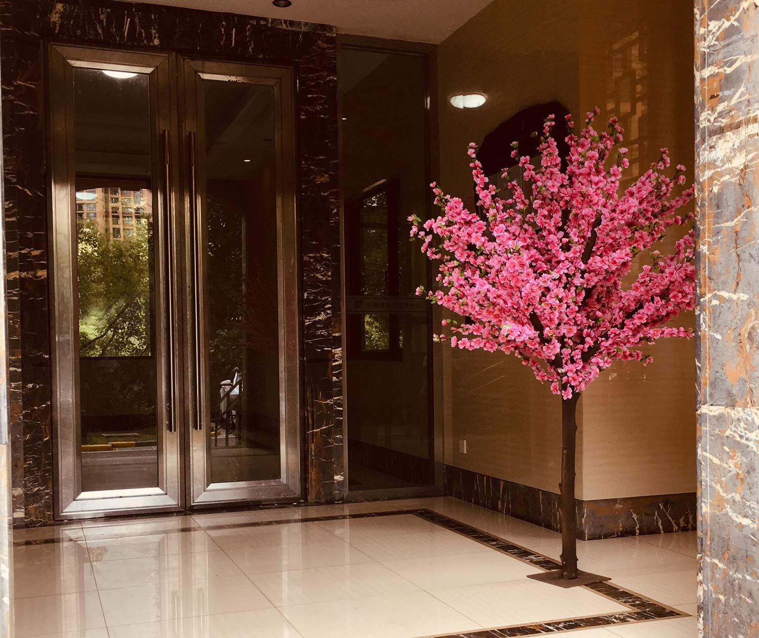 j-beauty Artificial Peach Blossom Trees Artificial Cherry Blossom Tree, Silk Flower (6 feet Tall)