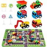 "Construction Toys for 2 3 4 5 6 Year Old Boys, 6 Construction Trucks, 4 Road Signs, 14"" x 18"" Construction Site Playmat, Perf"