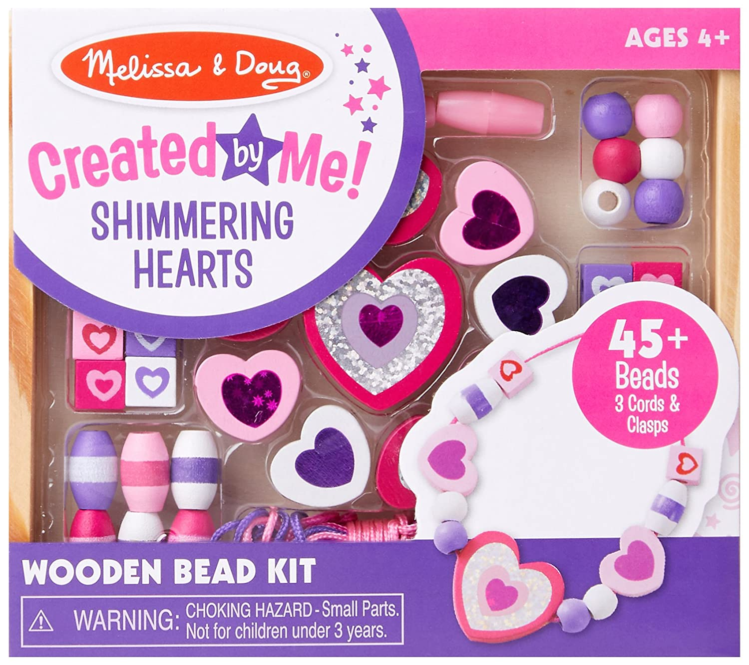 Melissa & Doug Shimmering Hearts Wooden Bead Set: 45 Beads and 3 Laces for Jewelry-Making 9495