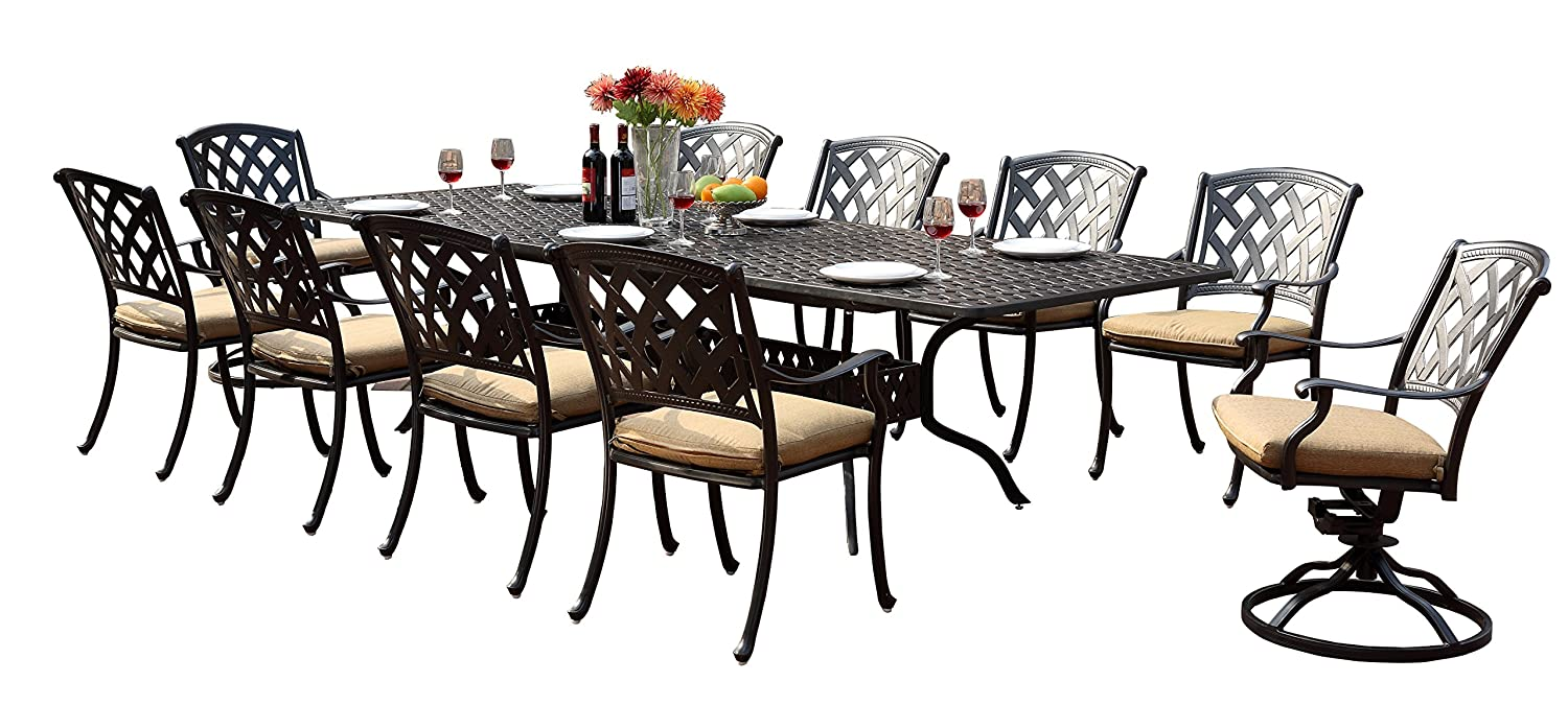 "Darlee 201630-11PC-30LE Ocean View Cast Aluminum 11 Piece Rectangle Extension Dining Set and Seat Cushions, 42"" by 92""/42"" by 120"""