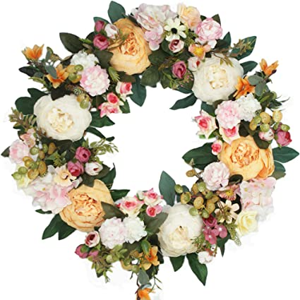 Emlyn Silk Decorative Front Door Wreath 17 Inch   Year Round Beautiful Silk  Wreath Transforms Front