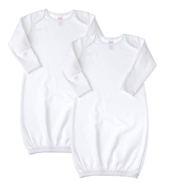 Amazon.com: Baby Jay Newborn Sleeper Gown 2 Pack - White Soft Cotton ...