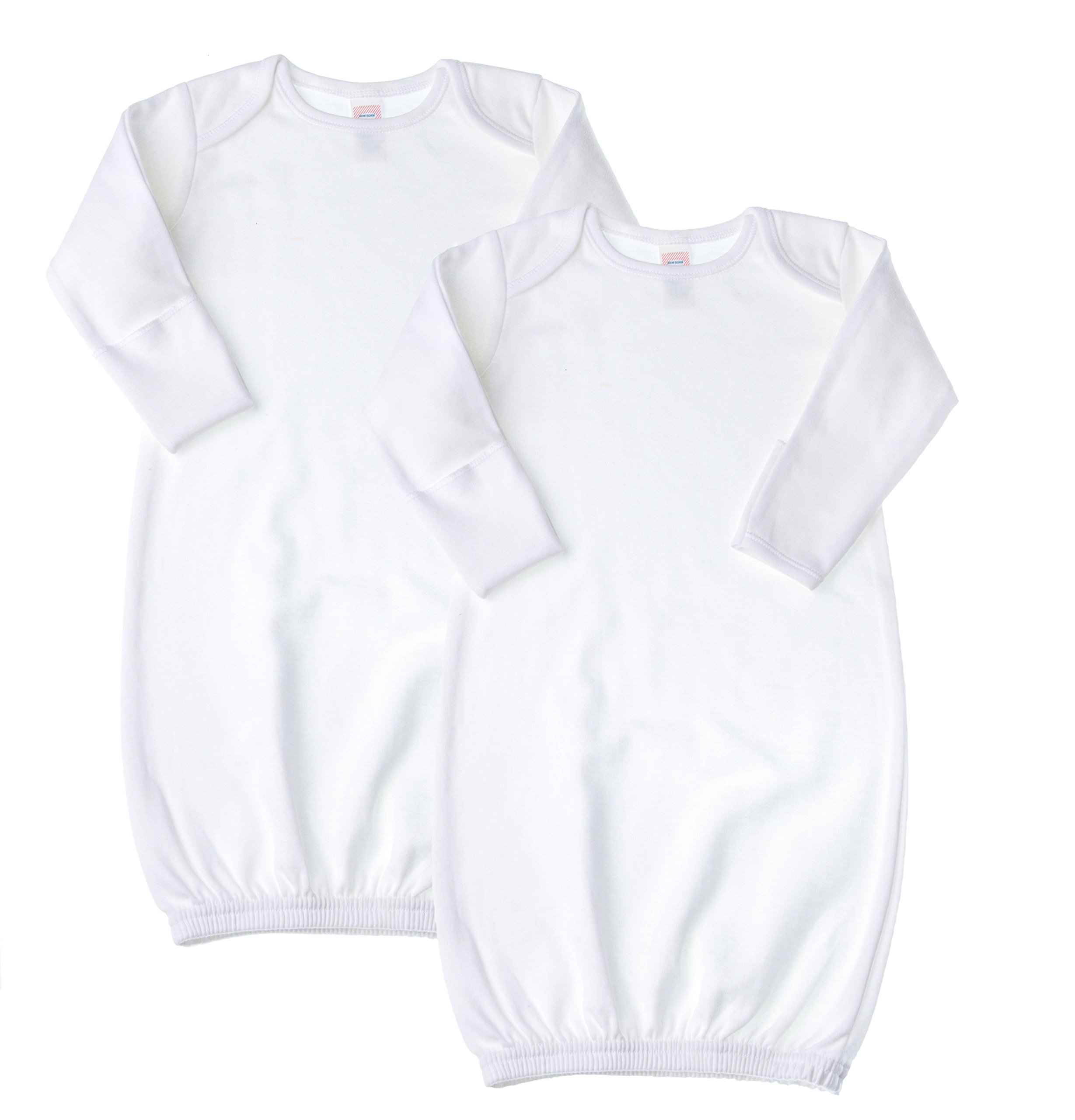 Baby Jay Newborn Sleeper Gown 2 Pack - White Soft Cotton Baby Nightgown Swaddle With Mitten Cuffs and Elastic Bottom