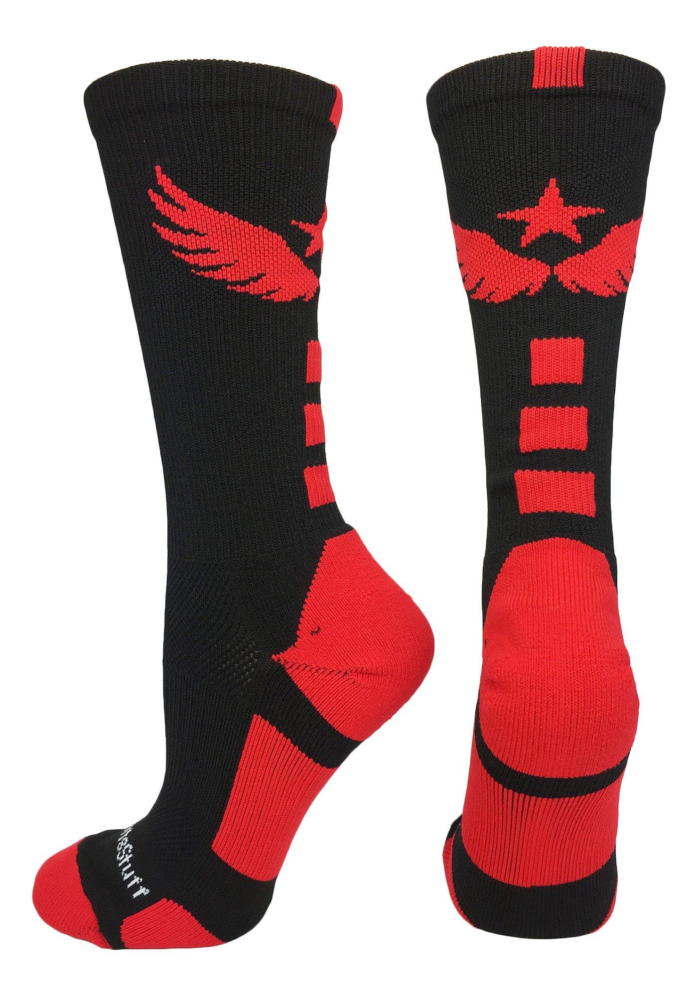 MadSportsStuff Light Speed Athletic Crew Socks (Black/Red, Large) by MadSportsStuff
