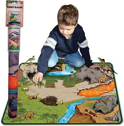 Present Day Dinosaur Play Mat w// 2 Action Figures Boys Fun 2-Sided Prehistoric