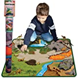 Neat-Oh! Dinosaur Prehistoric World 2-Sided Playmat w/2 dinosaurs