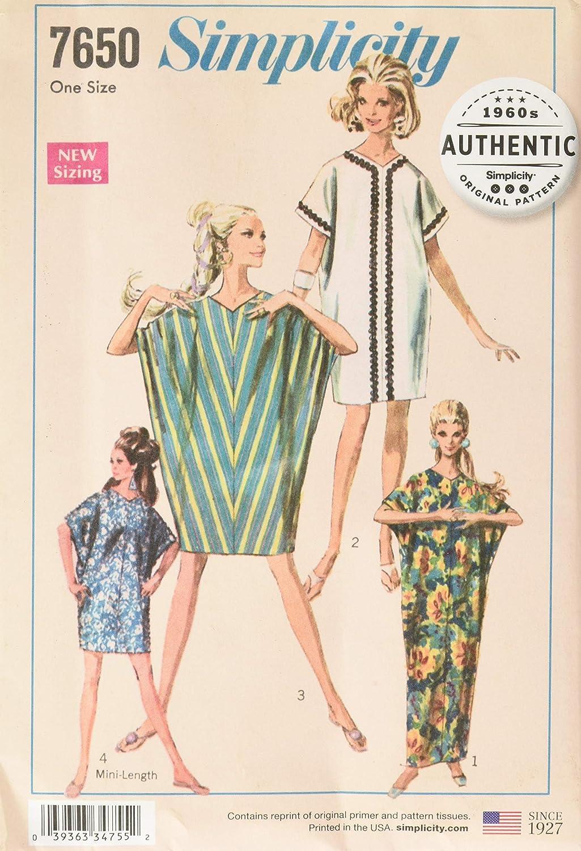 1960s – 70s Sewing Patterns- Dresses, Tops, Pants, Men's Simplicity Vintage UV7650OS Dresses OS (ONE Size) $5.56 AT vintagedancer.com