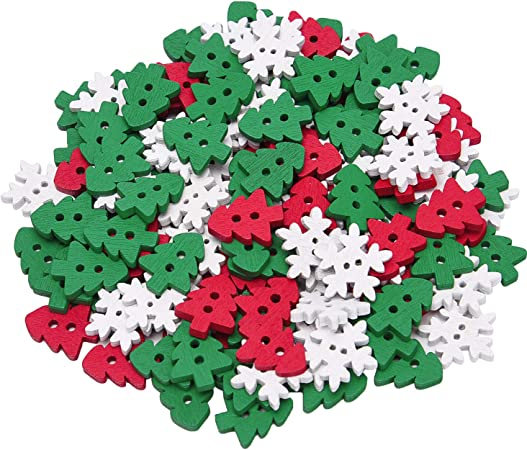 DR7 100//50PCS CHRISTMAS WOODEN SNOWFLAKES BUTTONS FOR SCRAPBOOKING CRAFT ORNATE