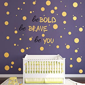 193 PCS Gold Dot Wall Decal, Inspirational Quote, Easy to Peel Easy to Stick Removable Vinyl Polka Dot Decor, Living Room Wallpaper, Boy Nursery Wall Decals, Wall Stickers for Kids