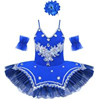 MSemis Vestido Ballet niña 4-10 años Tutú Princesa de Danza Ballet Vestido Flores Lentejuelas de Gimnasia Ritmica…