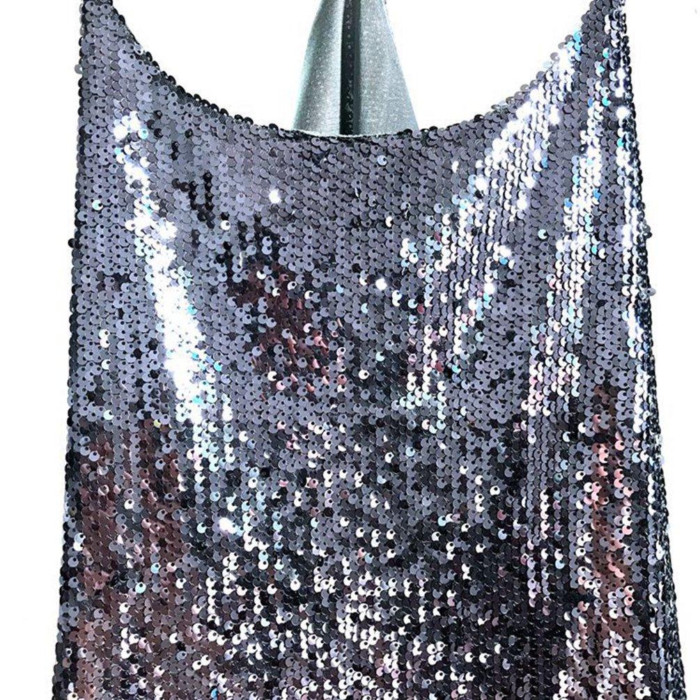 LINNUO Donna Canotte Scintilla e Glitter Lustrini Paillettes Top T-Shirt Casual Vest Magliette Camicetta Camicia