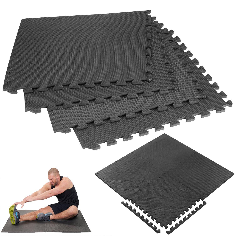 24SQ ft interlocking nero esercizio in morbida schiuma EVA tappetini