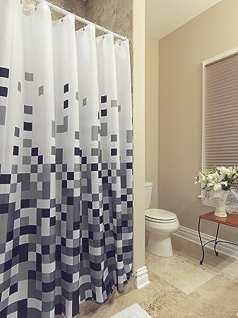 azk dr21070x70 shower curtain polyester pixels design with reinforced grommet 71u0026quot l