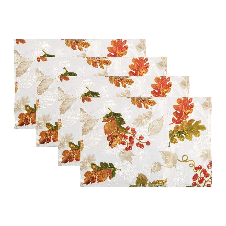Elrene Swaying Leaves Fall Autumn Printedダマスクプレースマット、4のセット   B075CS84JM