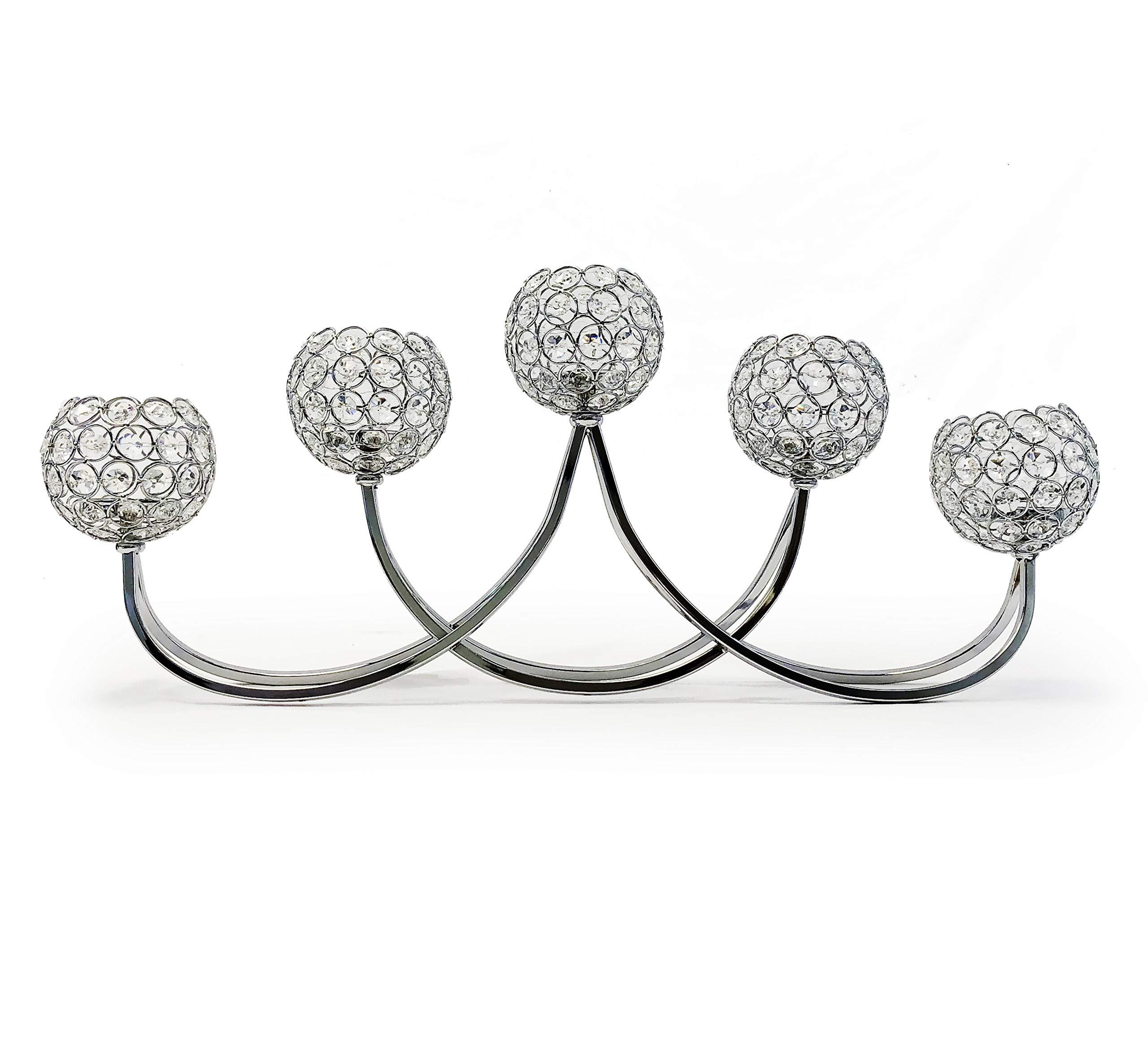 allgala 27'' 5 Bowl Crystal Silver Plated Tealight Votive Decorative Candle Holder Candelabra