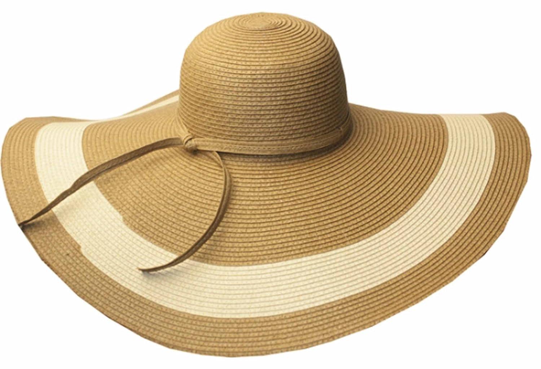 Sakkas Women's Contrast Stripe UPF 50+ Extra Wide Floppy Brim Straw Hat 5055460174445