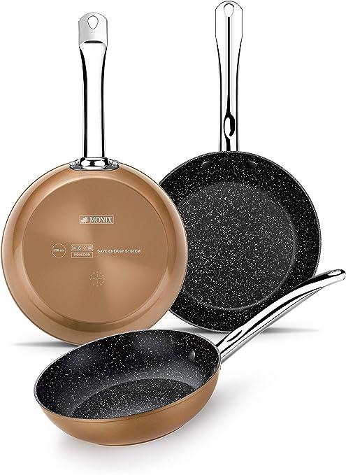 Monix M740040 Copper - Set de 3 Sartenes Efecto Cobre, Aluminio Forjado Antiadherente con Partículas de Titanio, Aptas para Todo Tipo de Cocinas incluso Inducción, 20-24-28 cm: Amazon.es: Hogar