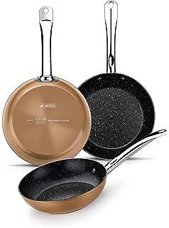 Monix Copper- Set sartenes efecto cobre 20-24-28 cm de aluminio forjado con…