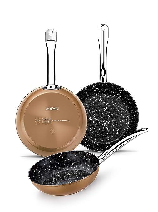 Monix Copper - Set de 3 sartenes efecto cobre, aluminio forjado antiadherente con partículas de titanio, 20-24-28 cm , aptas para todo tipo de cocinas ...