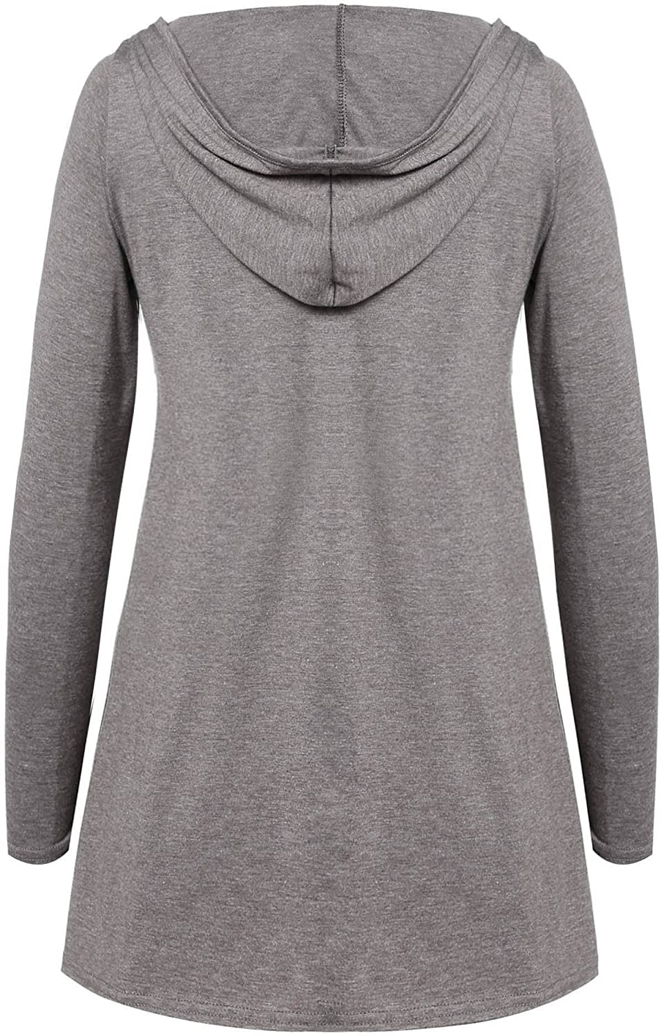 Zeagoo Tunic Tops Womens Long Sleeve Loose Fit Deep V Neck Lace Up Hoodie with Adjustable Drawstring